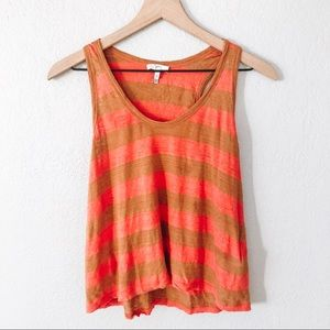 Joie Brown and Coral Striped Linen Tank Top